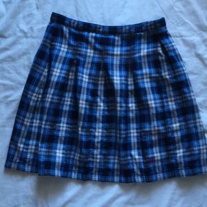 LANDS END Pleated Plaid Skirt